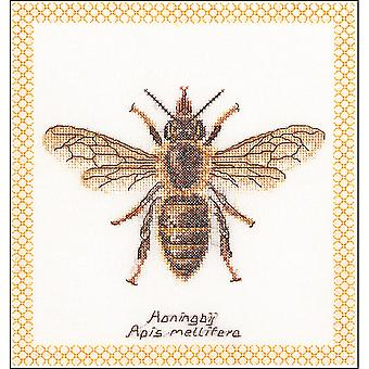 Honey Bee On Aida Counted Cross Stitch Kit-7.75