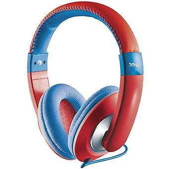 Trust Sonin Children Headphones Over-the-ear Volume limiter, Volume control Red, Blue
