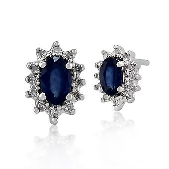 9ct White Gold Genuine Blue Sapphire & Diamond Cluster Stud Earrings Gift Boxed