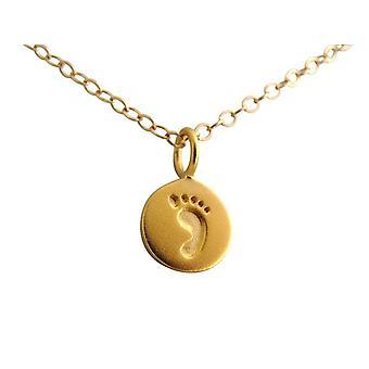 Gemshine - Damen - Kinder - Fußabdruck - Halskette - Anhänger - 925 Silber - Vergoldet - 12 mm