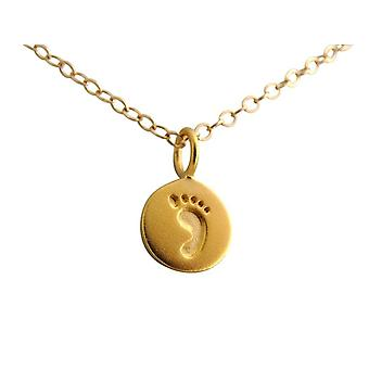 Gemshine - women - children - footprint - necklace - pendant - 925 Silver - gold plated - 12 mm