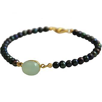 Damen - Armband -Vergoldet - Tahiti Grau Perlen - Chalcedon - Meeresgrün - 18 cm