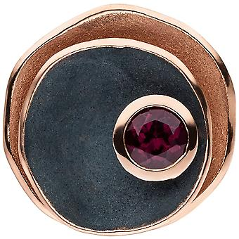 Charm 925 Silver rose gold plated red matte black 1 Rhodolite