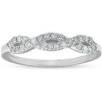 1 / 4ct Infinity Diamond Wedding stapelbare Ring 14K witgoud