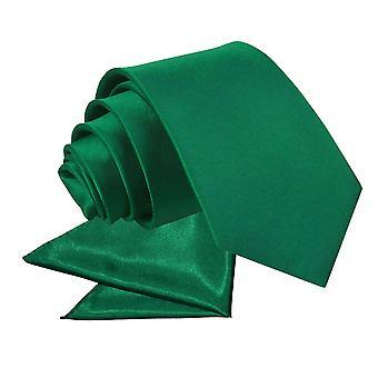 Emerald Green Plain Satin Krawatte & Einstecktuch für jungen eingestellt