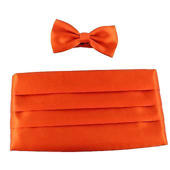 Knightsbridge Neckwear Bow Tie and Cummerbund Set - Orange