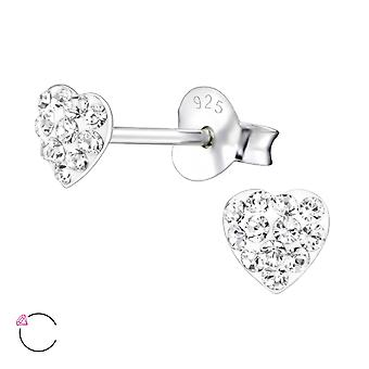 Heart - 925 Sterling Silver Crystal Ear Studs - W24692X