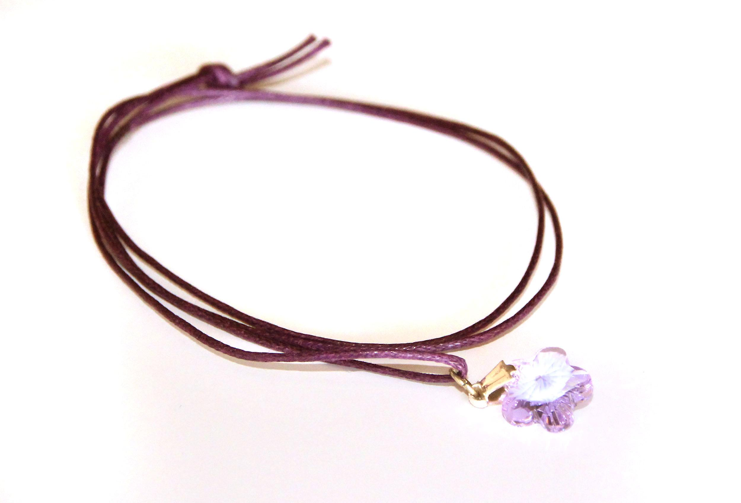 Waooh - Jewelry - Swarovski / pendant purple flower and waxed cord