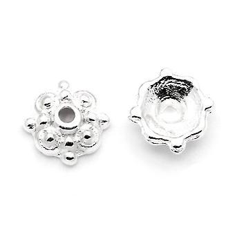 Packet 50+ Silver Tone Tibetan Flower Bead Caps 8mm HA12430