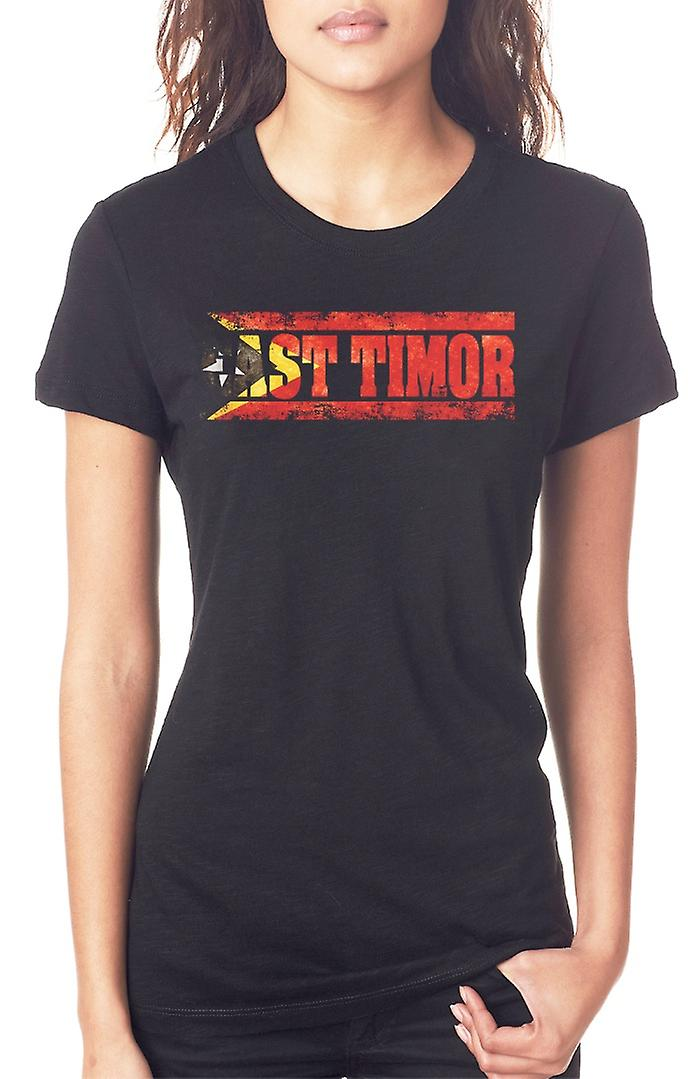 East Timor_ Flag - Words Ladies T Shirt