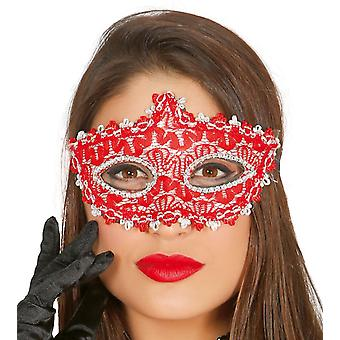 Womens rood ingericht masker Fancy Dress accessoire