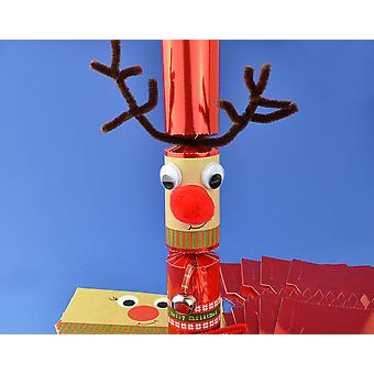 8 Jingly Wobbly Standy Uppy Rudolph Reindeer Make Your Own Christmas Cracker Kit