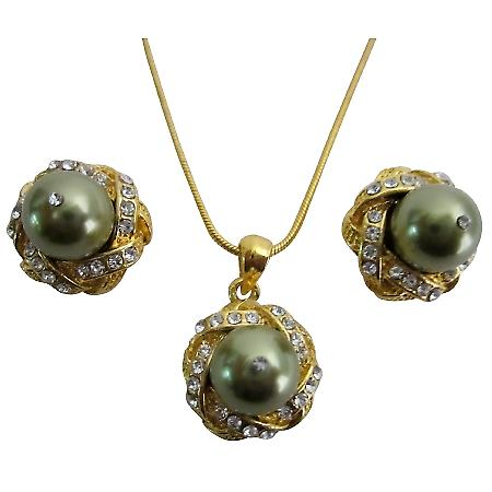 Lowest Price High Quality Green Pearl Pendant Jewelry Set