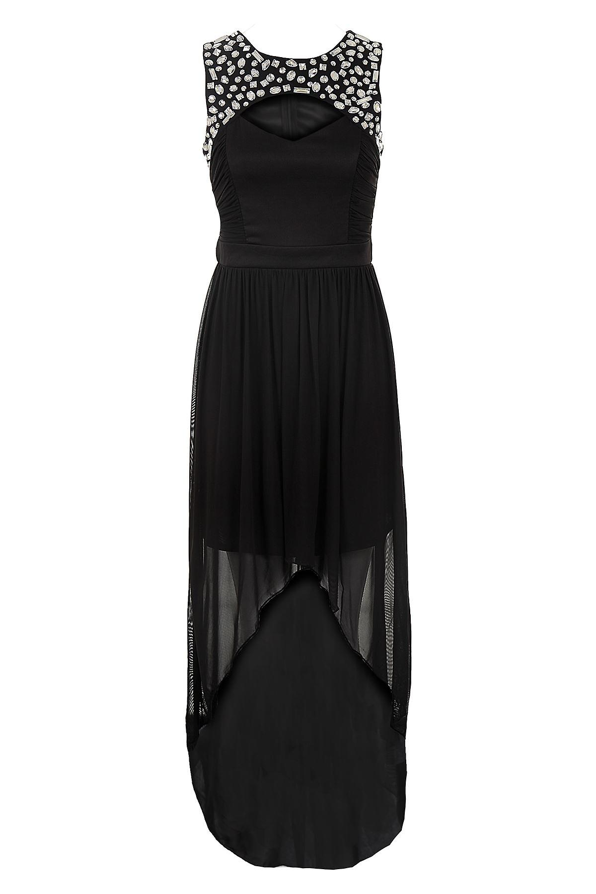 Ladies Diamante Cut Out Front Gathered High Low Long Maxi Fishtail Womens Dress