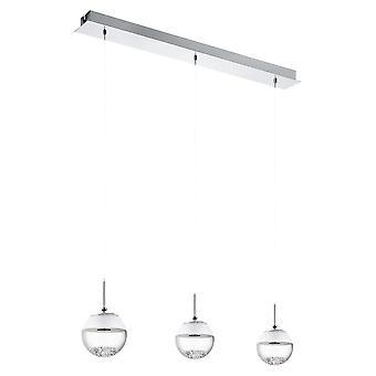 Eglo - Montefio 1 LED 3 luz de teto pendente em cromo polido e acabamento de cristal EG93784
