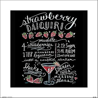 Lily & Val kunst afdrukken Strawberry daiquiri krijt kunst klein-formaat