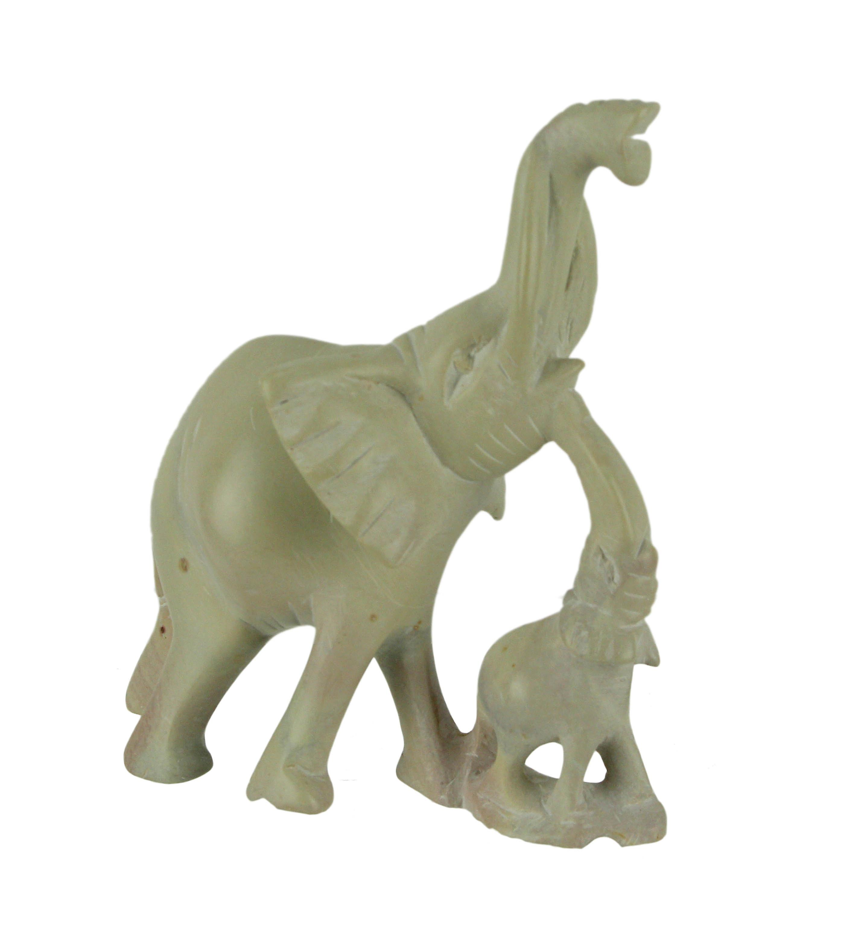 Hand Carved Natural Stone Elephant Family Statue