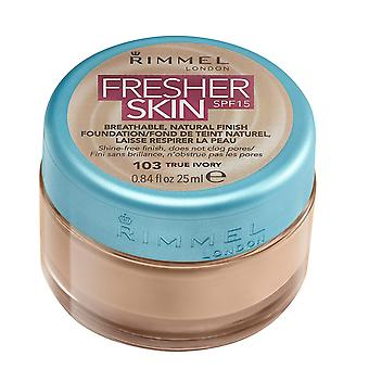 Rimmel London Fresher Skin Foundation, Number #103 True Ivory, 25 ml