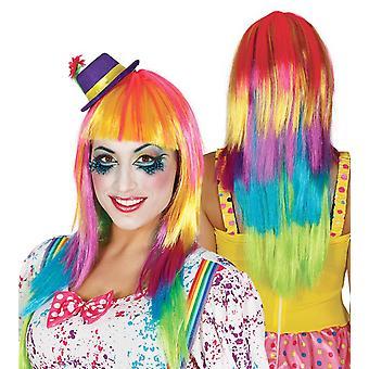Womens Long Rainbow Wig Fancy Dress Accessory