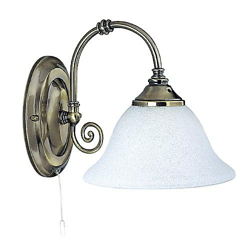 Searchlight 9351-1 Virginia Traditional Switched Antique Brass Wall Light With Scarvo Glass