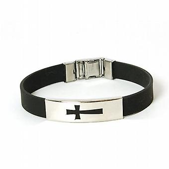 The Olivia Collection Gents Rubber and Stainless Steel Cross 8