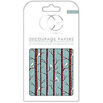 Craft Consortium vinter skog decoupage papper (CCXDECP007)