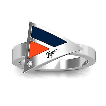 Detroit Tigers Tigers Engraved Diamond Geometric Ring In Dark Blue And Orange