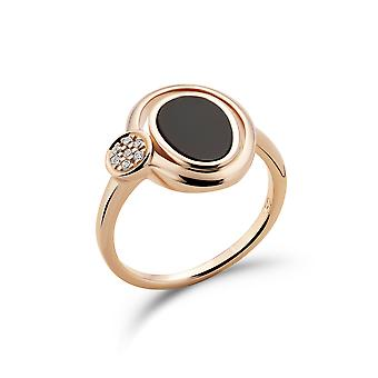 Orphelia 925 Silver Ring Rose Oval with Black Onyx and Zirconium