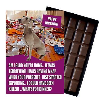 Weimarana Funny Födelsedagspresenter till hundälskare boxed choklad gratulationskort present