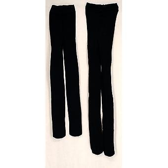 Liz Claiborne York 2 pack afgedrukt & Solid Basic zwarte Panty's A209456