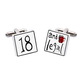 18 and Legal Cufflinks by Sonia Spencer, in Presentation Gift Box. Hand painted