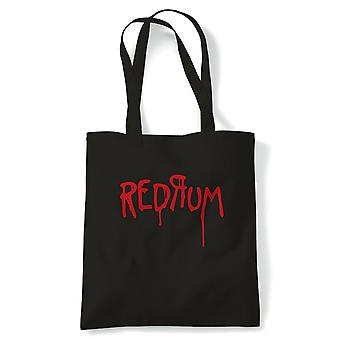 Redrum Horror Shinning Movie Inspired Tote | Reusable Shopping Cotton Canvas Long Handled Natural Shopper Eco-Friendly Fashion