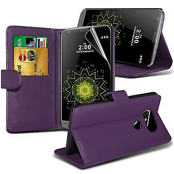 i-Tronixs LG G5 PU Leather Wallet Classic Flip Case + Screen Protector Guard -Purple