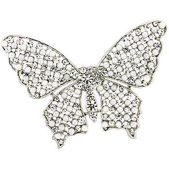 Brooches Store Large Faux Pearl and Crystal Butterfly Brooch