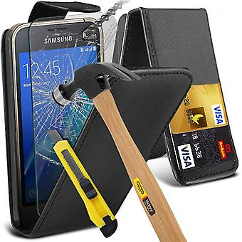 i-Tronixs Samsung Galaxy J1 Mini 2016 PU Leather Flip Case + Glass Screen Protector -Black