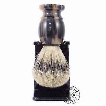 Real Horn Silvertip Badger Hair Shaving Brush with Black Drip Stand
