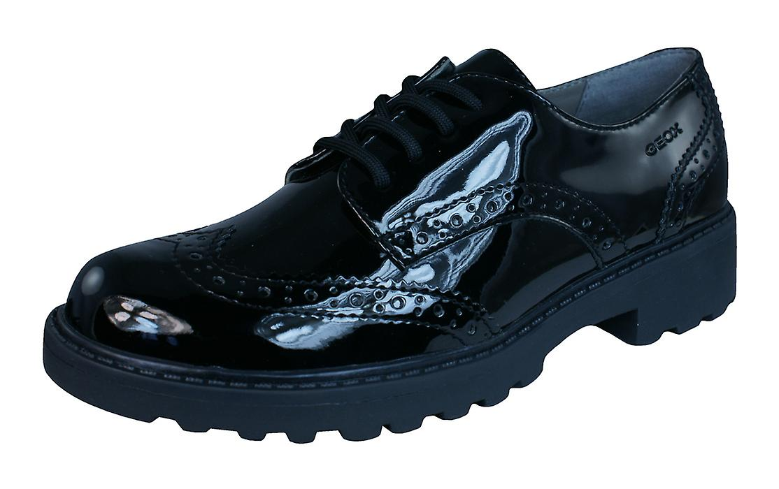 Geox J Casey G Girls Patent cuir Lace Up chaussures   Brogues - noir