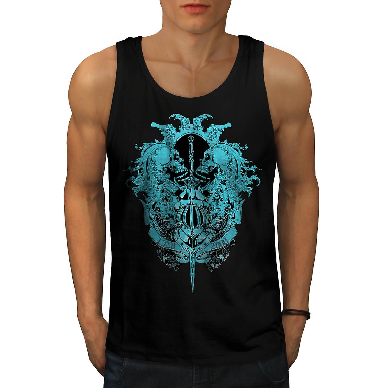 Skeleton Battle Sword Fear Fight Men Black Tank Top | Wellcoda
