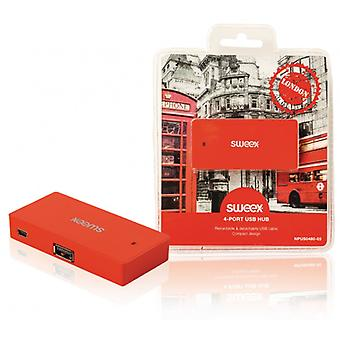 Sweex 4-port USB-hub London rood