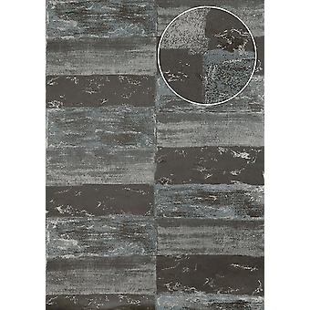 Stone tiles wallpaper Atlas ICO-5072-3 non-woven wallpaper smooth with natural patterns shimmering grey silver feh grey 7,035 m2