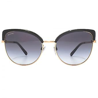 Bvlgari Two Tone Peaked Sunglasses In Black Rose Gold