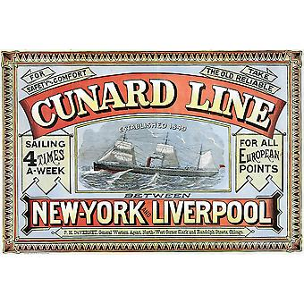 Cunard Line New York Liverpool 1875 Poster Print Giclee