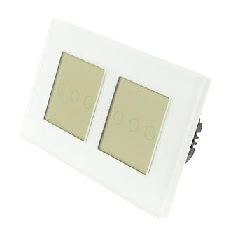 I LumoS White Glass Double Frame 6 Gang 2 Way Touch LED Light Switch Gold Insert