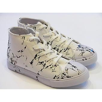 Akid Kids White Canvas Marble Lace-up High Top | AKID Anthony Hi