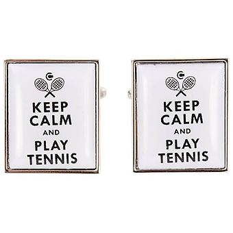 Zennor Keep Calm and Play Tennis Cufflinks - White