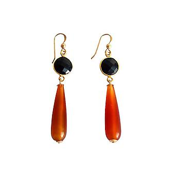 Gold-plated ladies earrings carnelian and Black Onyx earrings gold