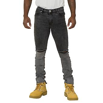 Men's Creased Black Denim Jeans with Knee Rips Slim Fit Jeans with stretch