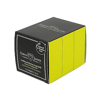 Edwin Jagger Traditional Shaving Soap Limes and Pomegranate 65g 3 pack