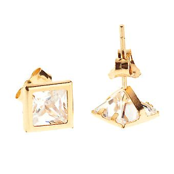14K Gold Iced Out Stud Ohrstecker - BEZEL SQUARE 5mm