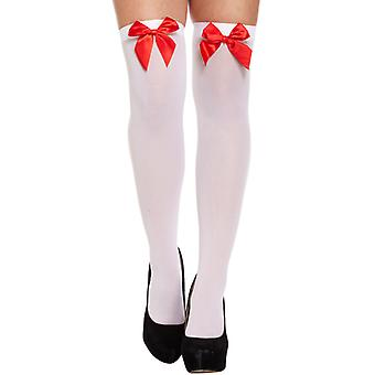 Halloween White Hold Up Stockings With Red Bow Fancy Dress Accessory
